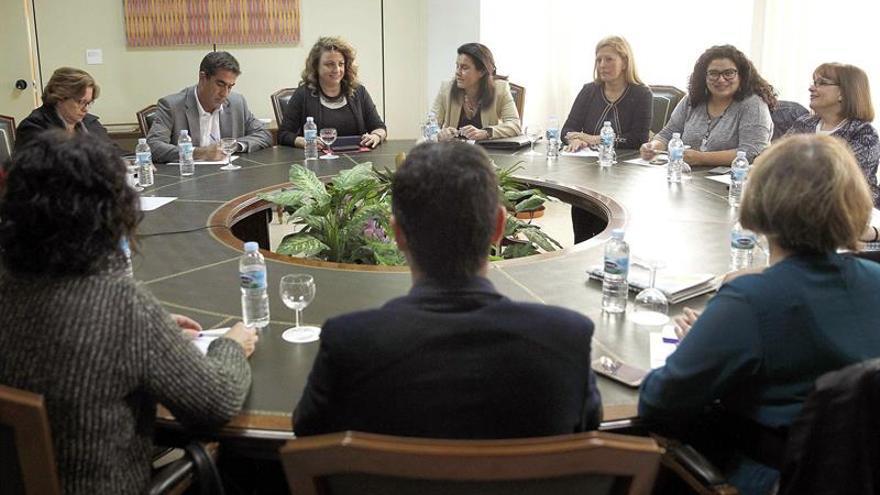 La consejera de Empleo, Políticas Sociales y Vivienda del Gobierno de Canarias, Cristina Valido (3i), durante la reunión mantenida con representantes de la Federación Canaria de Islas