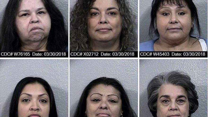 Combo de seis fotografías cedidas por el Departamento de Correcciones y Rehabilitación de California (CDCR) donde aparecen las latinas sentenciadas a pena de muerte (arriba) Dora Buenrostro (i), Angelina Rodríguez (c), María Alfaro (d), (abajo) Belinda Magana (i), Verónica Gonzales (c) y Socorro Caro (d), todas ellas en cárceles de California, un estado donde está en vigor una moratoria de las ejecuciones.