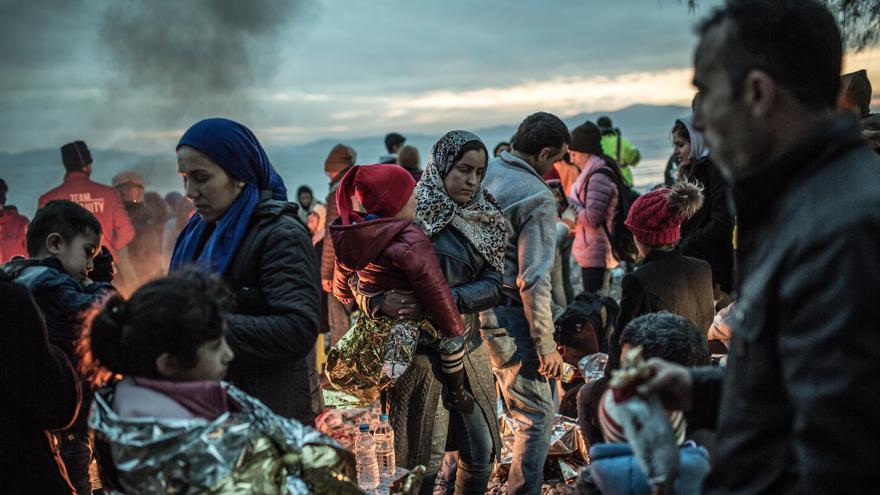 Persones refugiades a l'illa de Lesbos (Grècia).