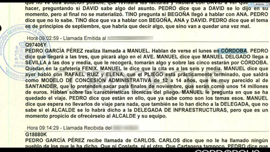 Extracto del pinchazo telefónico realizado a Pedro García en la que se habla de sus contactos en Córdoba.