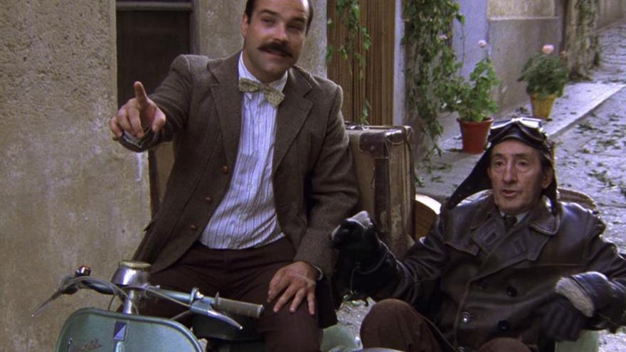 Teodoro y Jimmy en el sidecar