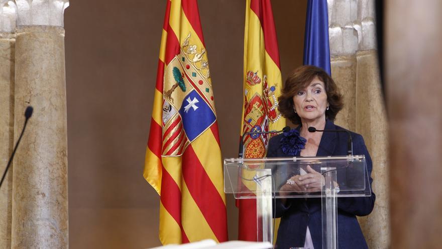 La vicepresidenta en funciones del Gobierno de España, Carmen Calvo