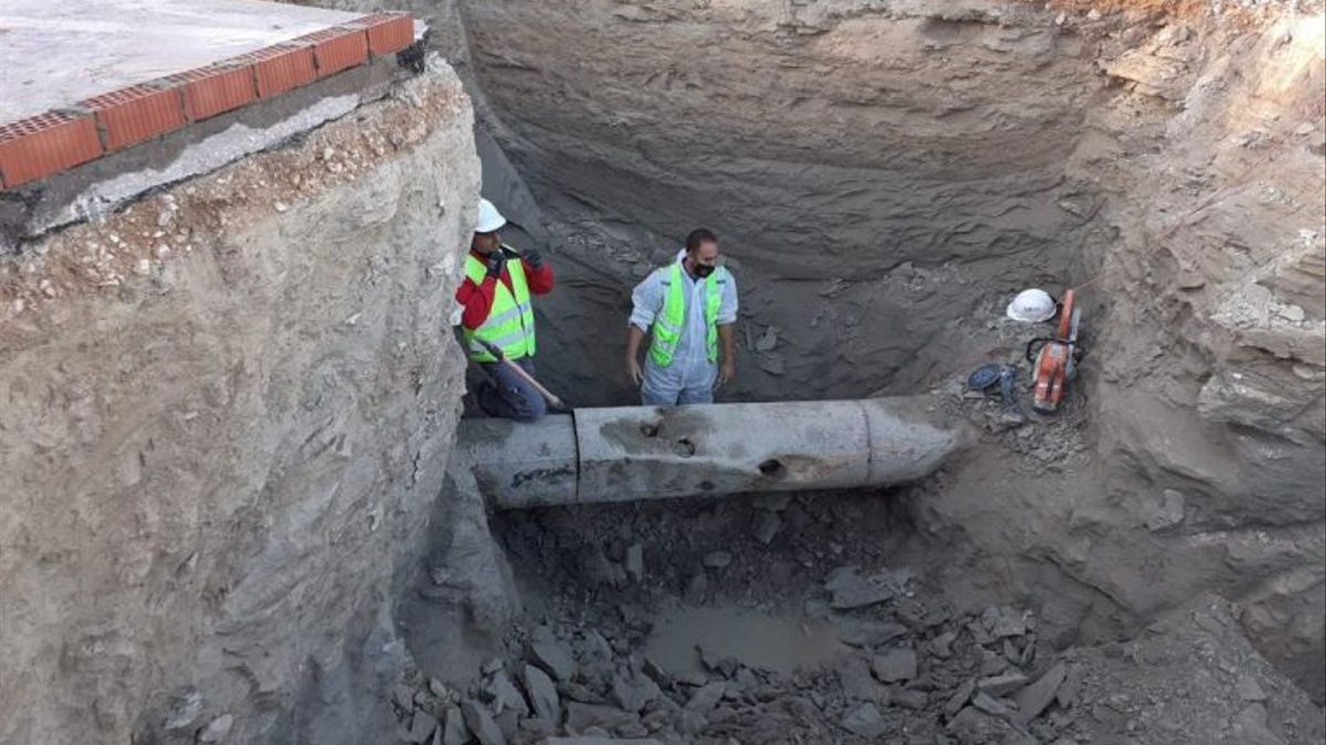 Obras de canalización de aguas en Ontinyent.