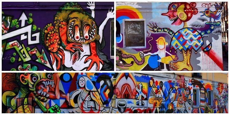 Diferentes intervenciones en el muro de Juan Pujol entre 2011 y 2015