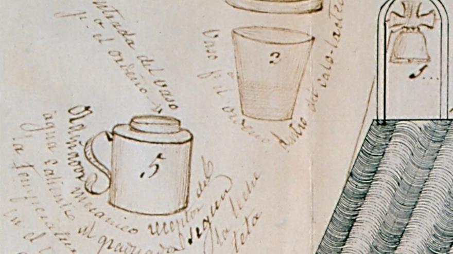 """Detalle del esquema de Fermina Orduña donde explica la utilidad del vaso y el """"ordeñador mecánico"""""""