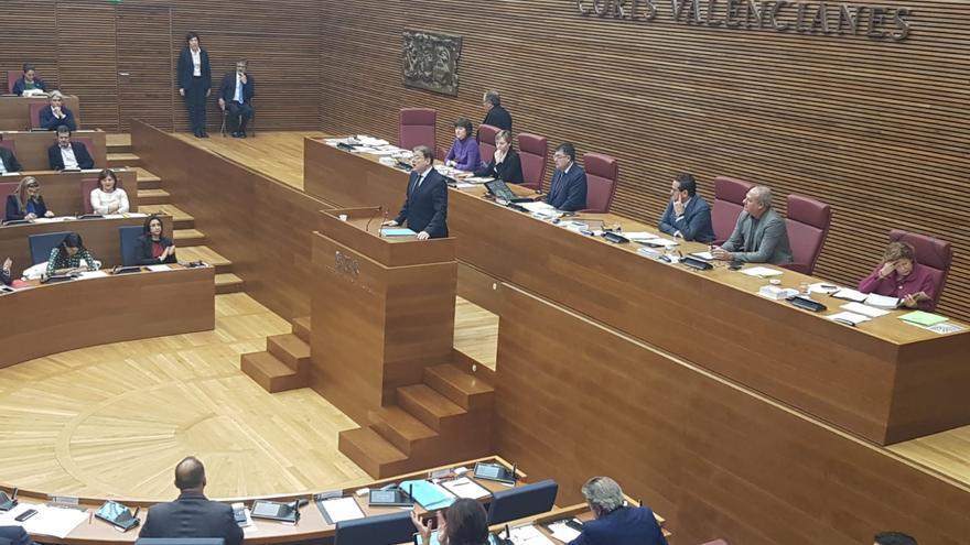 El president de la Generlitat, Ximo Puig, durante la sesión de control de este jueves.