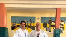 David y Teodomiro Pérez en el gimnasio del Círculo
