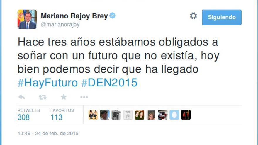 Tuit de Mariano Rajoy sobre la recuperación económica.