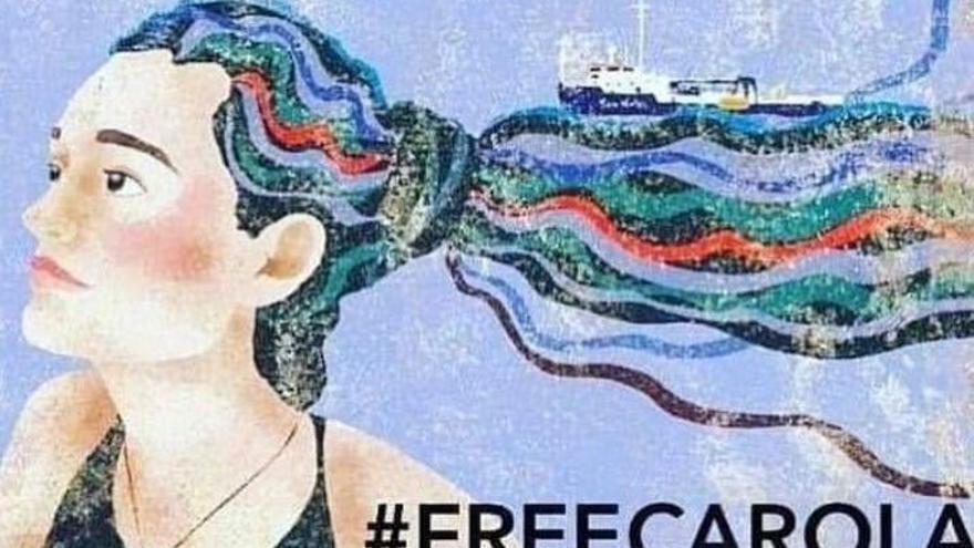 Ilustración de la activista Carola Rackete.