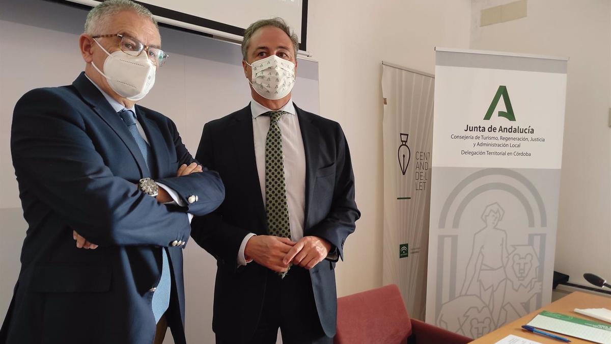 Manuel Muñoz y Ángel Pimentel en la presentación del Plan Meta 2027 en Córdoba.