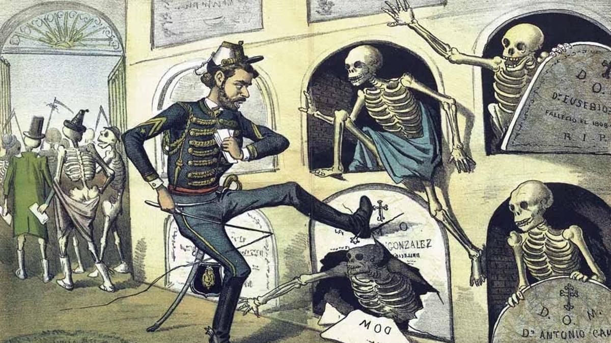 Grabado publicado en El Motín en 1884, donde se ironiza sobre la costumbre de levantar a los muertos para que acudieran a votar.