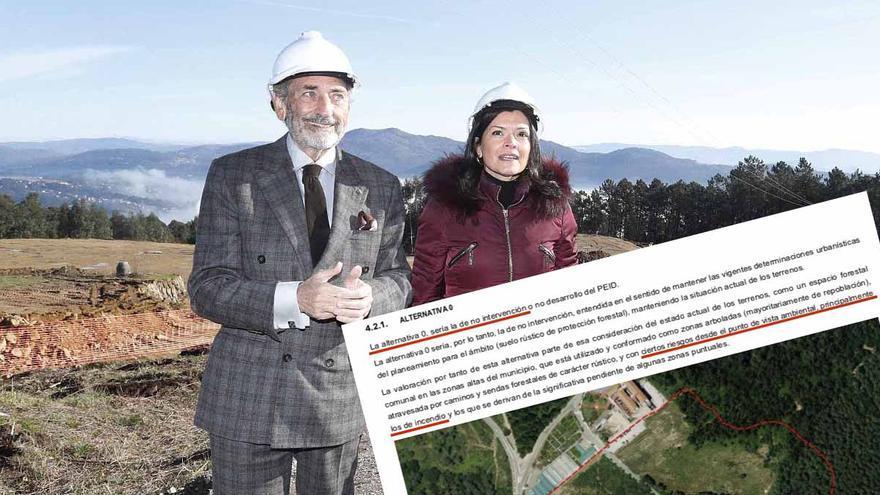El propietario del Celta y la alcaldesa de Mos en las obras ya en marcha y fragmento del documento ambiental del proyecto