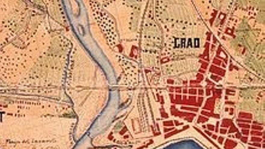 Mapa antiguo del puerto de Valencia