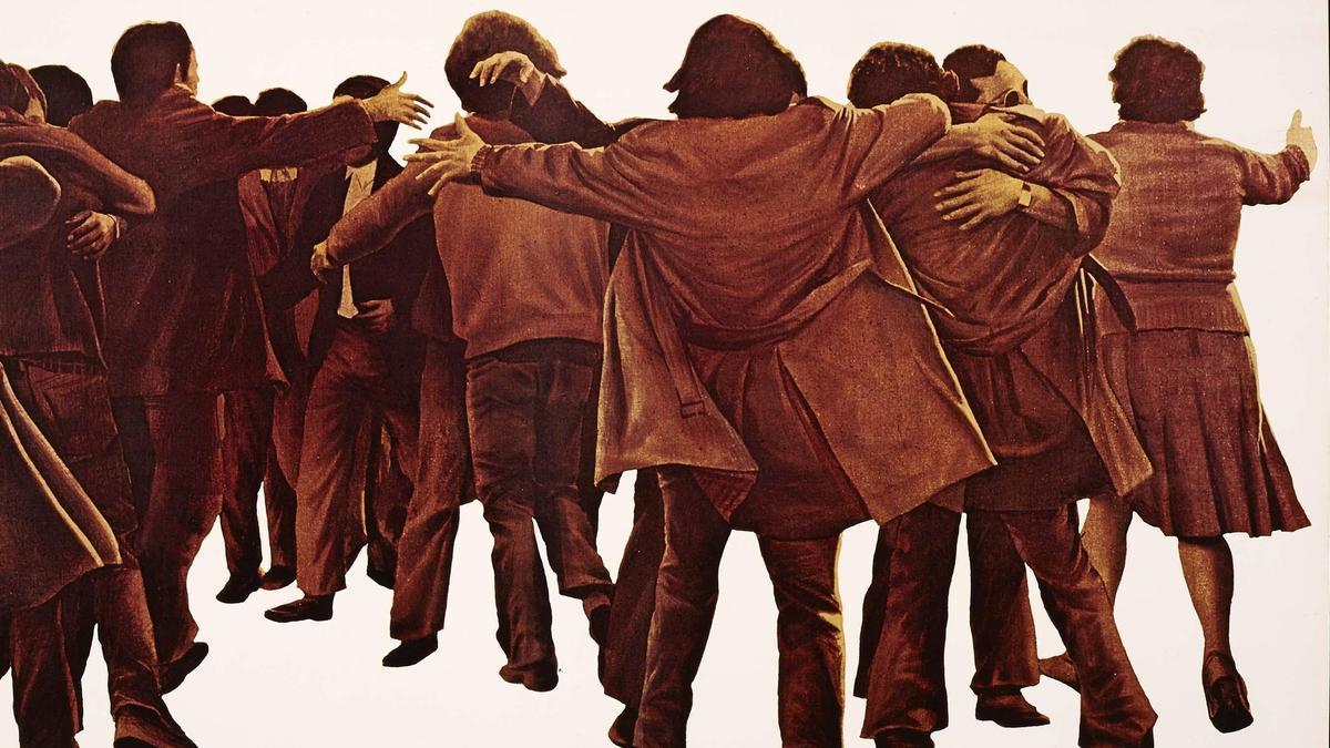 'El abrazo', de Juan Genovés. Acrílico sobre lienzo.