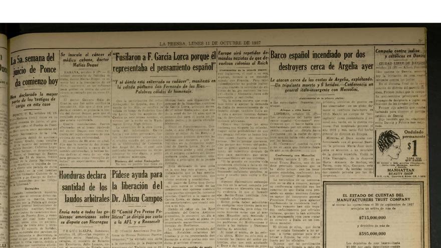 Copia de la noticia aparecida en el diario La Prensa sobre una conferencia de Fernando de los Ríos en Nueva York en que se refirió al fusilamiento de Federico