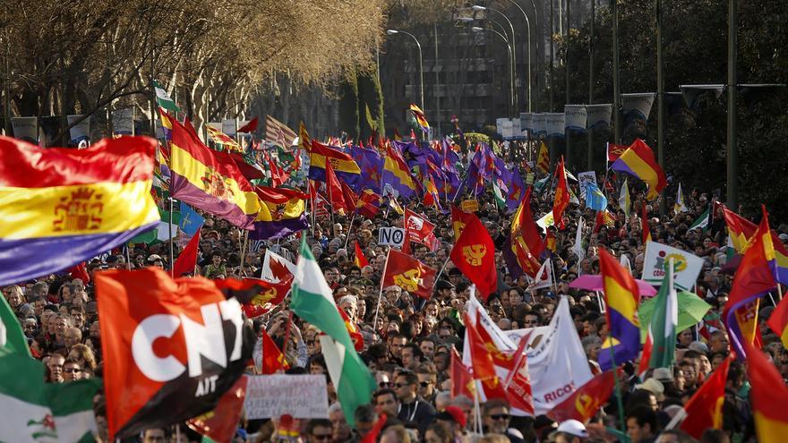 La protesta a su paso por las principales calles de Madrid / Olmo Calvo