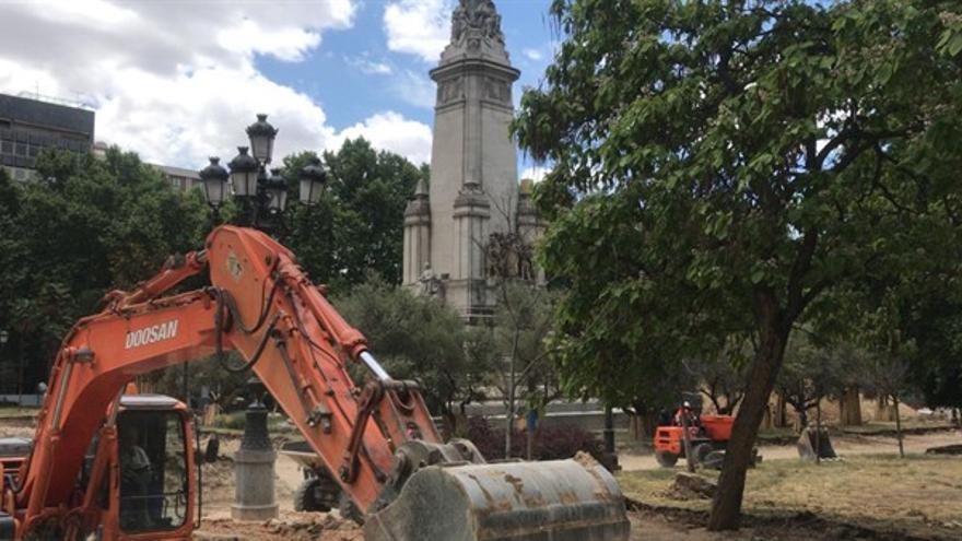La Plaza de España durante las obras de remodelación.