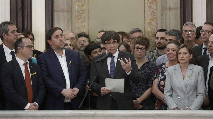 Puigdemont, Junqueras y Forcadell tras la DUI