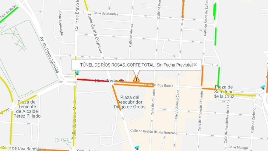Punto en el que se ha cortado el túnel y congestión de tráfico a su alrededor | AYUNTAMIENTO DE MADRID