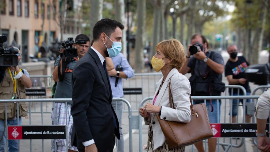 El conseller de Empresa y Trabajo de la Generalitat, Roger Torrent, a su llegada al TSJC