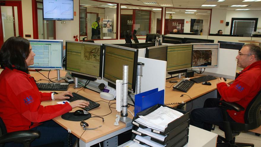 Sala operativa del Centro Coordinador de Emergencias y Seguridad (Cecoes) 1-1-2 de Canarias.