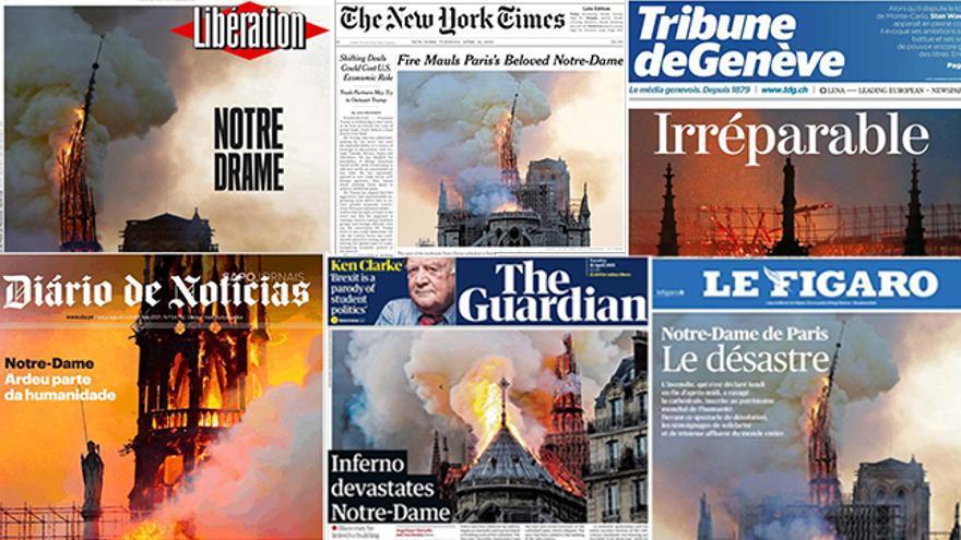 Portadas internacionales sobre el incendio de Notre-Dame