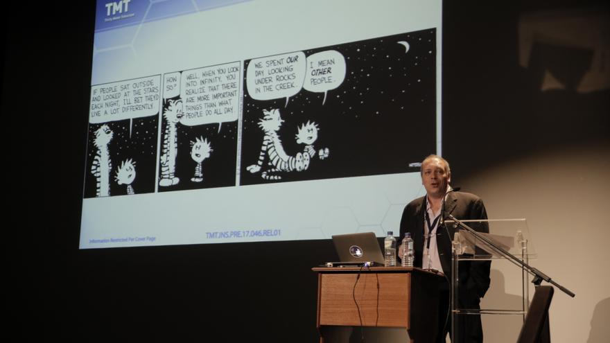 Christophe Dumas, del Instituto de Tecnología de California (CALTECH) y jefe de operaciones del Observatorio Internacional TMT (Telescopio de Treinta Metros). Foto: Elena Mora (IAC).
