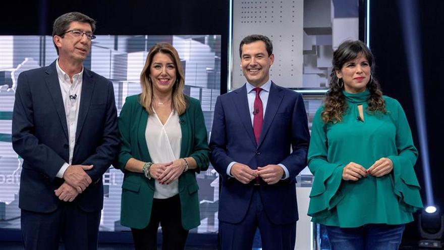 Juan Marín, Susana Díaz, Juanma Moreno y Teresa Rodríguez en el primer debate de cara a las elecciones andaluzas.