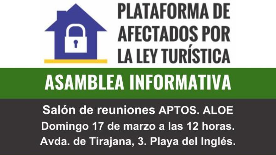Cartel de convocatoria de la Plataforma de Afectados por la Ley Turística.