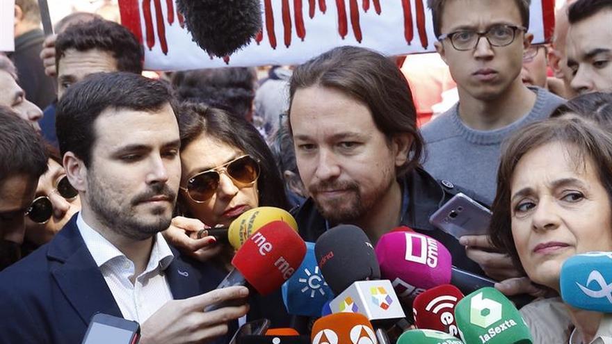 Pablo Iglesias, Alberto Garzón e Íñigo Errejón en la manifestación del Primero de Mayo.