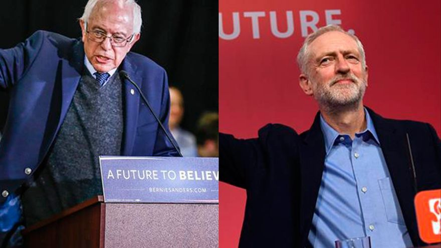 El candidato demócrata estadounidense Bernie Sanders y el líder del Partido Laborista británico, Jeremy Corbyn