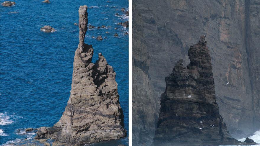 Delta arrancó parte del Dedo de Dios, en Agaete. En la imagen, el antes y el después de la tormenta tropical