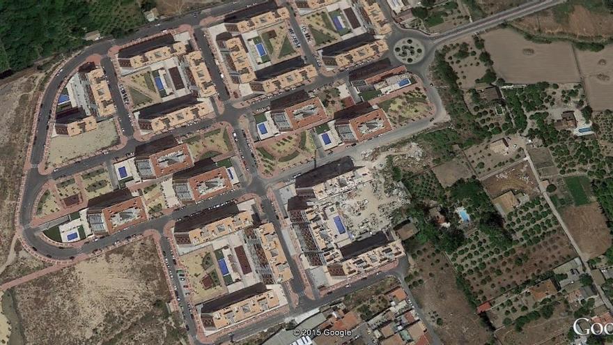 Imagen de Google Earth de la urbanización Joven Futura, al noroeste de la ciudad de Murcia
