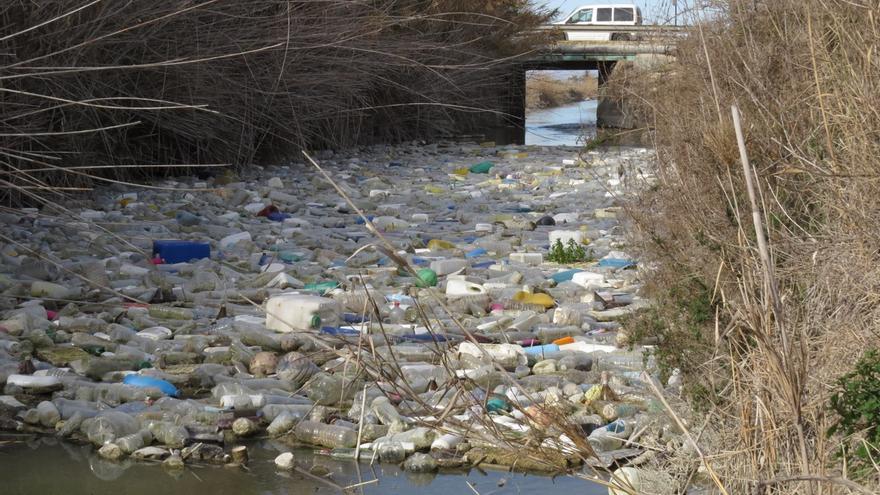 Plásticos acumulados en la desembocadura del río Segura