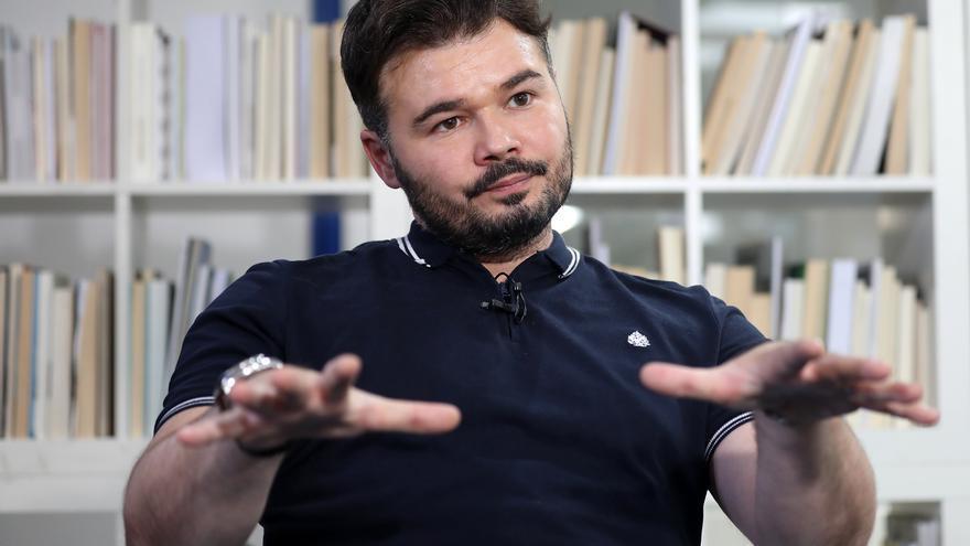 Gabriel Rufián en un momento de la entrevista en la redacción de eldiario.es.