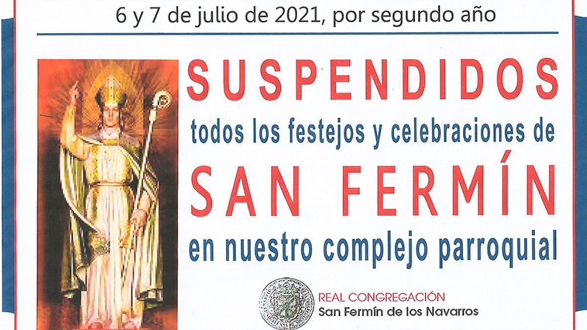 Cartel de suspensión de los Sanfermines en 2021