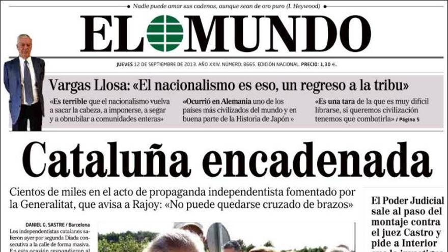Portada del diario El Mundo del 12 de septiembre.