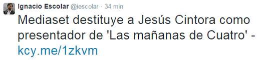 Mediaset destituye a Jesús Cintora como presentador de 'Las mañanas de Cuatro' Esco-1