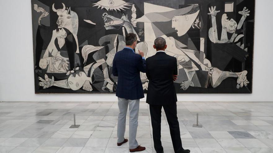 El rey Felipe, junto a Obama delante del Guernica