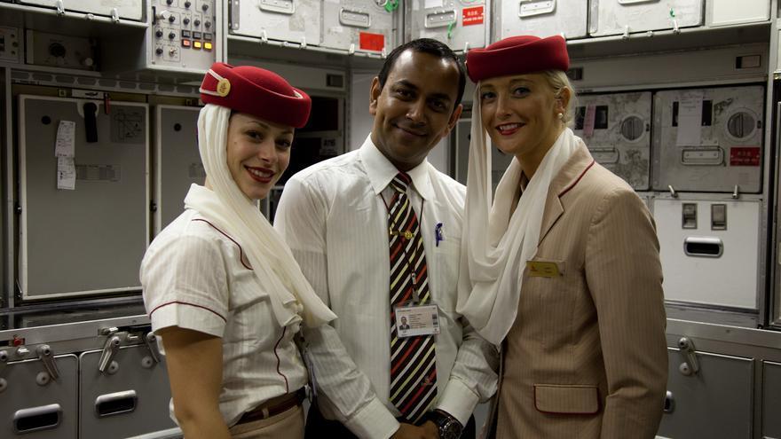 Parte de la tripulación de un vuelo