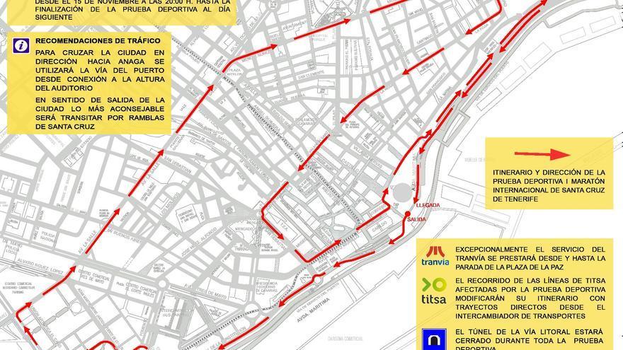 Plano del recorrido urbano de la prueba deportiva que se celebrará el domingo.