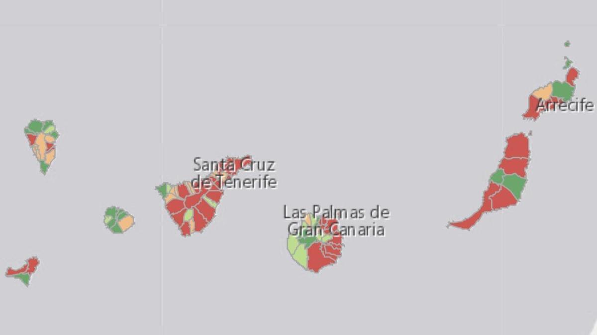 Incidencia acumulada a 14 días en Canarias