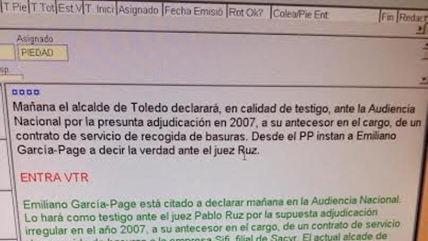 Bruto de la pieza preparada en Castilla-La Mancha TV para hablar de las imputaciones del PP