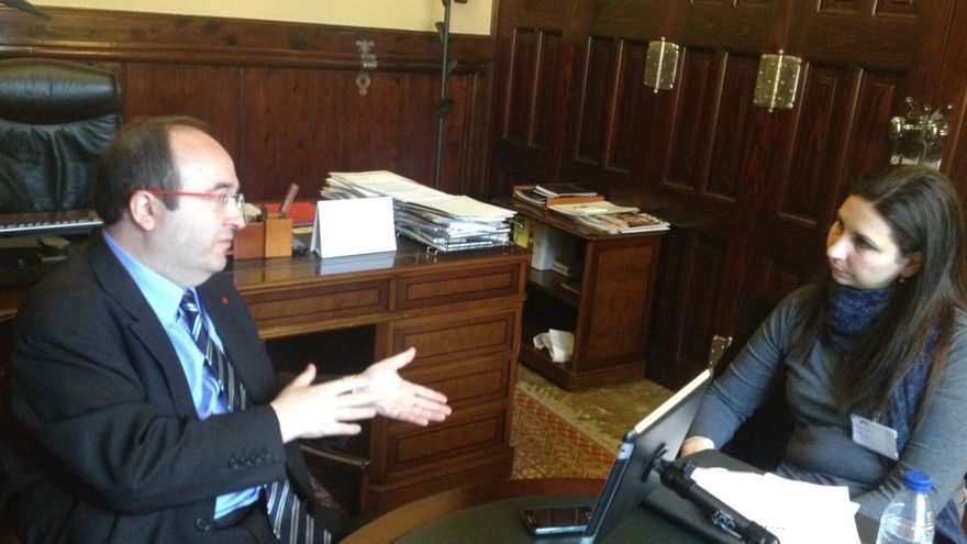 Miquel Iceta y Astrid Barrio, en un momento de la conversación sobre selección de políticos / Foto: Agenda Pública