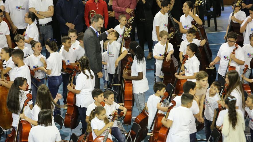 Los reyes tras el concierto de Barrios Orquestados