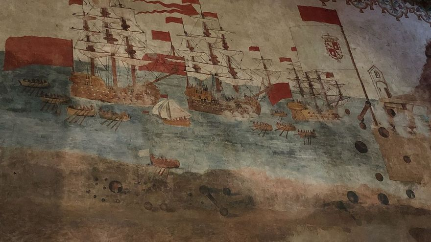 Pintura ubicada en la Iglesia de La Asunción de San Sebastián de La Gomera que representa la batalla con las tropas británicas