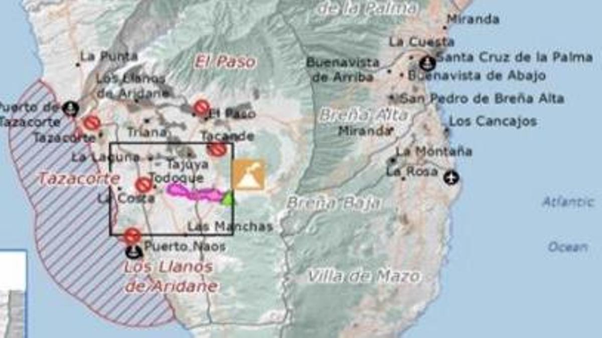 Infografía con datos del satélite Copernicus de la zona afectada por la erupción volcánica en La Palma. Twitter 112 Canarias.