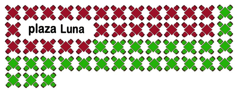 Terrazas legales (en verde) e ilegales (en rojo) en la Plaza Luna, o Santa María Soledad Torres Acosta | SOMOS MALASAÑA