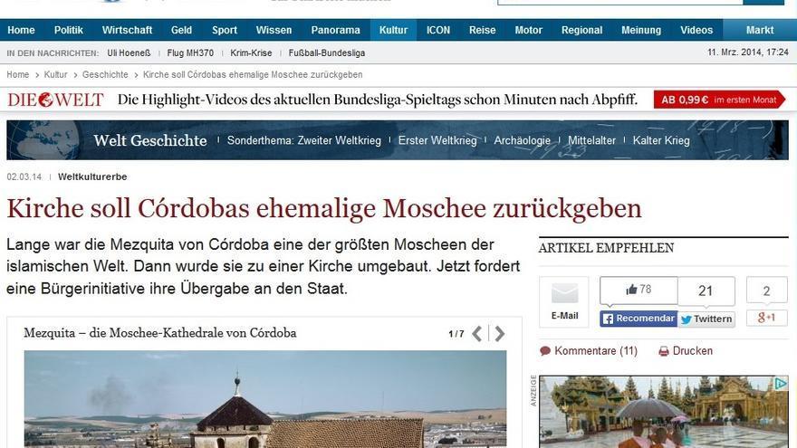 Die Welt se hace eco del debate sobre la titularidad de la Mezquita Catedral de Córdoba