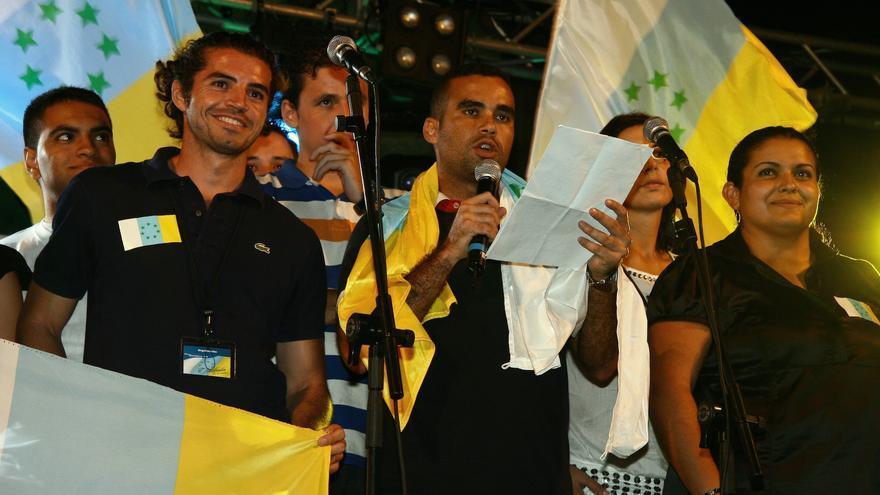 Independentistas canarios en una manifestación.